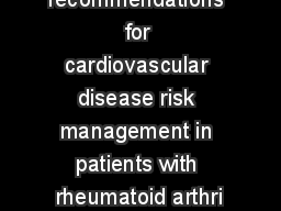 EULAR recommendations for cardiovascular disease risk management in patients with rheumatoid arthri