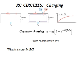 RC  CIRCUITS: Charging Time constant =