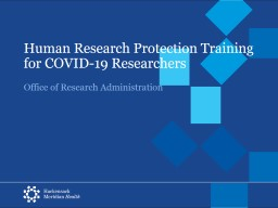 Human Research Protection Training for COVID-19 Researchers