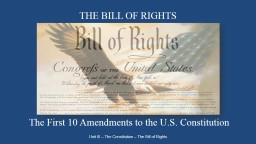 THE BILL OF RIGHTS Unit III – The Constitution – The