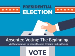 Absentee Voting: The Beginning