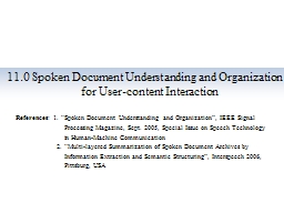 11.0 Spoken  Document Understanding