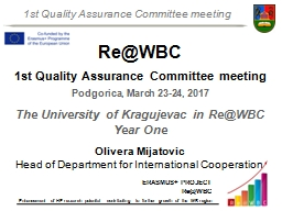 Re@WBC 1st Quality Assurance Committee meeting