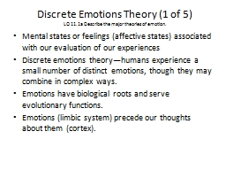Discrete Emotions Theory (1 of 5)