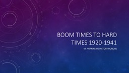 Boom Times to Hard Times 1920-1941