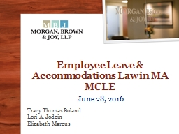 Employee Leave & Accommodations Law in MA