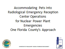 Accommodating Pets Into Radiological Emergency Reception Center Operations