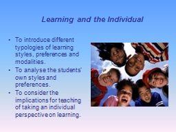 Learning and the Individual