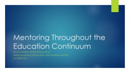 Mentoring Throughout the Education Continuum
