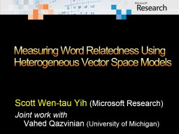 Measuring Word Relatedness Using Heterogeneous Vector Space Models