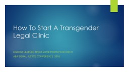 How  To Start A Transgender Legal