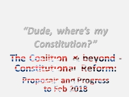"""Dude, where's my Constitution?"""