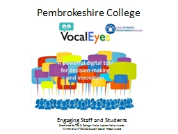 Pembrokeshire College  Engaging Staff and Students