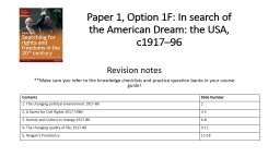 Paper 1, Option 1F: In search of the American Dream: the USA, c1917–96