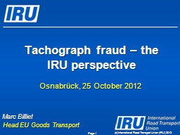 (c) International Road Transport Union (IRU) 2012