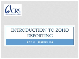 Introduction to  Zoho  Reporting