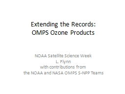 Extending the Records: OMPS Ozone Products