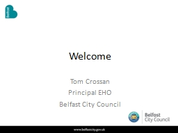 Welcome Tom Crossan Principal EHO