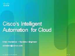 C isco's Intelligent Automation for Cloud