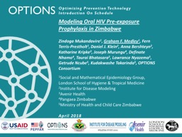 OPTIONS Modeling Oral HIV Pre-exposure Prophylaxis in Zimbabwe