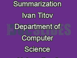 A Joint Model of Text and Aspect Ratings for Sentiment Summarization Ivan Titov Department of Computer Science University of Illinois at UrbanaChampaign Urbana IL  titovuiuc