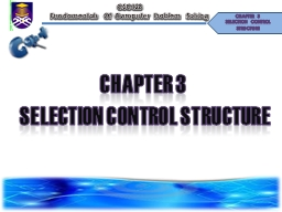 chapter 3   SELECTION CONTROL STRUCTURE