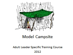 Model Campsite Adult Leader Specific Training Course