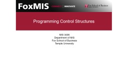 Programming Control  Structures