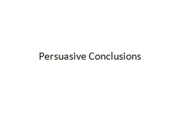 Persuasive Conclusions Journal Write