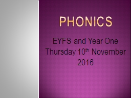 Phonics EYFS and Year One