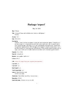 Package aspect July   Type Package Title Aspects of Multivariables Version