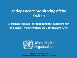 Independent Monitoring of the