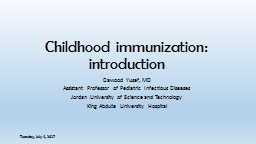 Childhood immunization: introduction