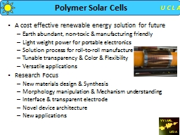 Polymer Solar Cells A cost effective renewable energy solution for future