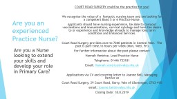 Are you an experienced Practice Nurse?