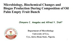 Microbiology, Biochemical Changes and Biogas Production