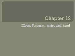 Chapter 12  Elbow, Forearm, wrist, and hand