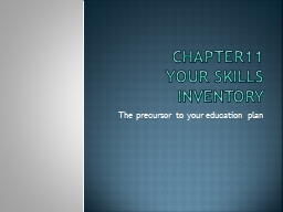 Chapter11 Your Skills inventory