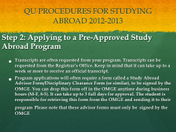 QU PROCEDURES FOR STUDYING ABROAD
