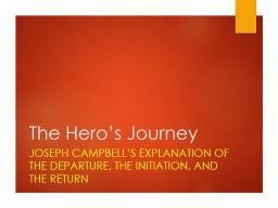 The Hero's Journey Joseph Campbell's Explanation of The Departure, The Initiation, and The Retu