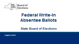 Federal Write-In Absentee Ballots