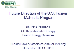 Future Direction of the U.S. Fusion Materials Program