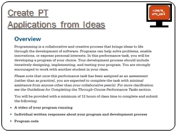 Create PT  Applications from Ideas