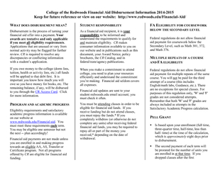 College of the Redwoods Financial Aid Disbursement Inf