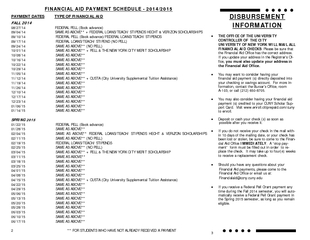 FINANCIAL AID PAYMENT SCHEDULE   PAYMENT DATES TYPE OF