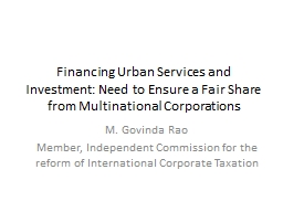 Financing Urban Services and Investment: Need to Ensure a Fair Share from Multinational Corporation