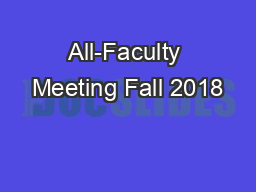All-Faculty Meeting Fall 2018