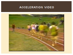 Acceleration Video  SWBAT explain how changes in velocity and time affect the acceleration of an ob