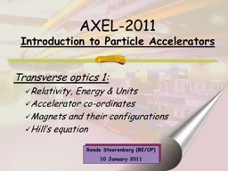 AXEL-2011 Introduction to Particle Accelerators