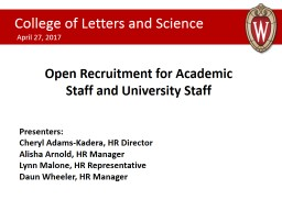 Open Recruitment for Academic Staff and University Staff